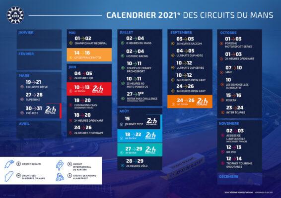 Le calendrier 2021 des circuits du Mans mis à jour