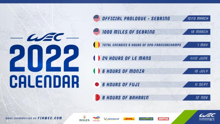 Le calendrier FIA WEC 2022